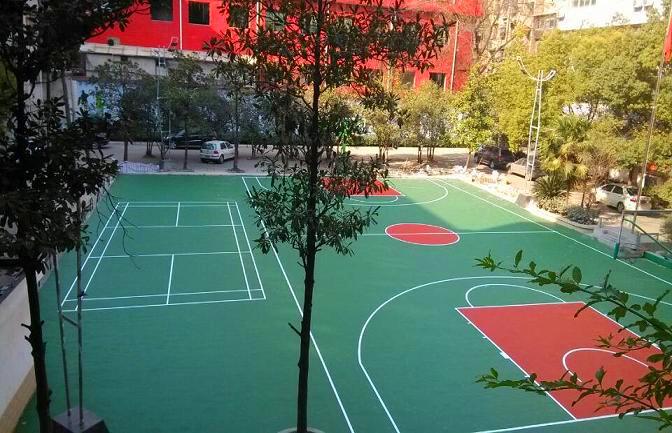 广西来宾xin城学xiao硅PU篮球场