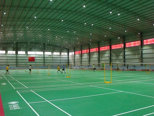 广州le洋洋羽毛球guan悬浮地ban+PVC羽毛球场